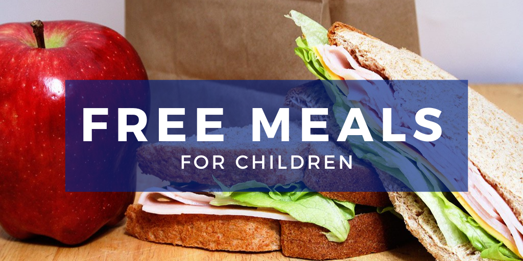 Free Free meals for children, photo of a sandwich and an apple.